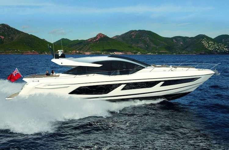 Main shot of 74ft-Sunseeker motor yacht STRATEGIC DREAMS at sea