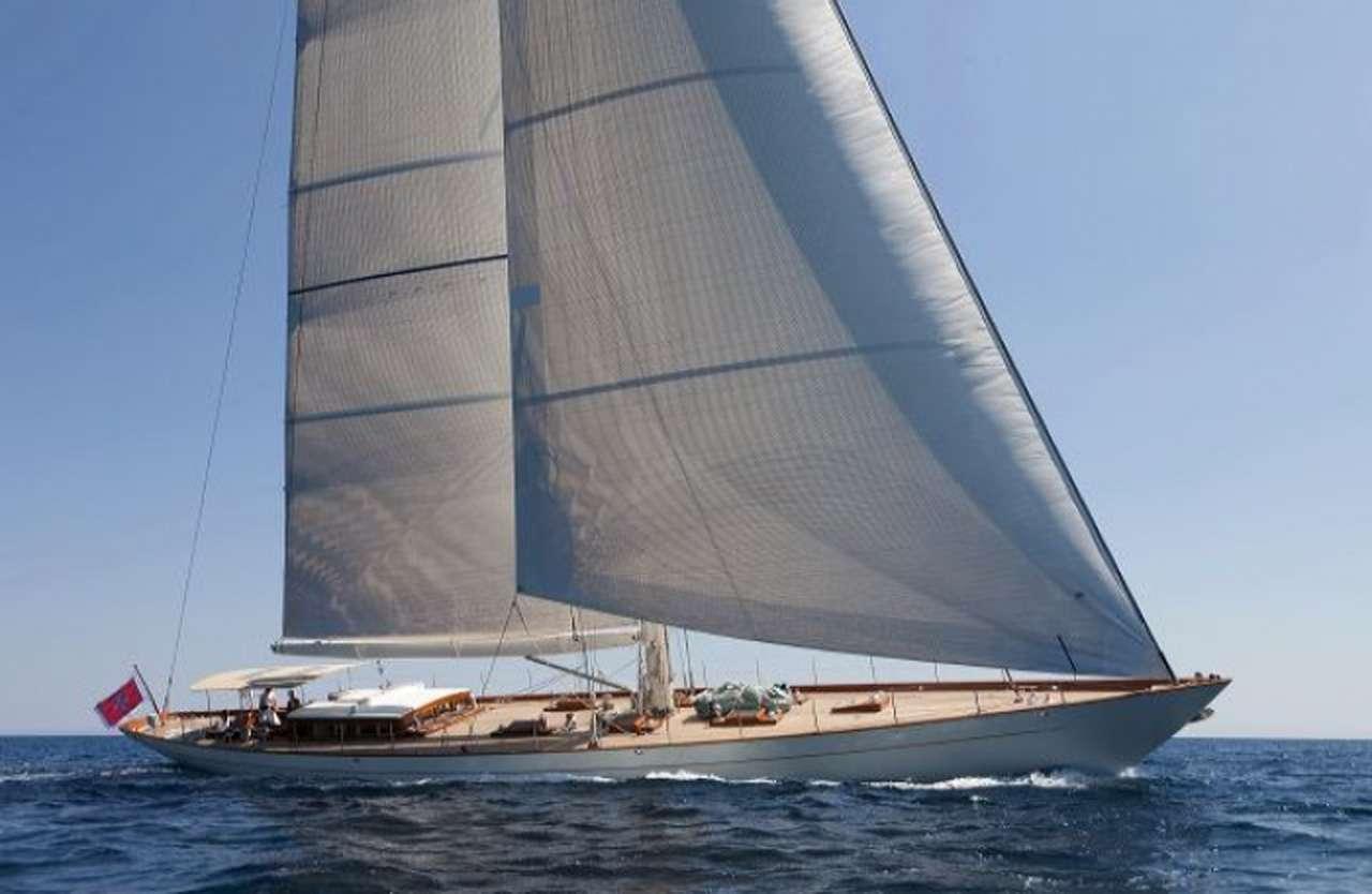 Main shot of 111ft sailing yacht AURELIUS III at sea