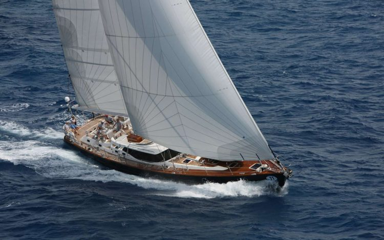 82ft Oyster Marine sailing yacht RAVEN CLAW at full sail