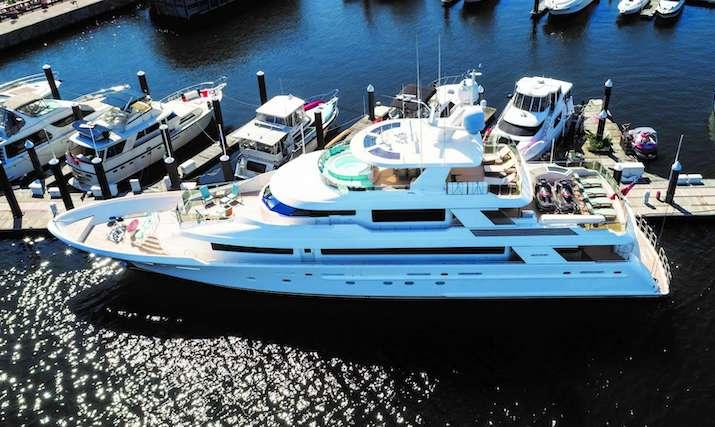 Main shot of 130ft Westport motor yacht ENDEAVOR docked