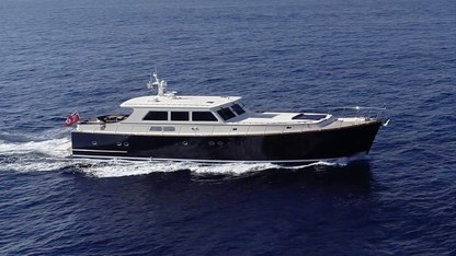 New England classic 85ft motor yacht ESSENCE OF CAYMAN (Vicem Yachts) at sea