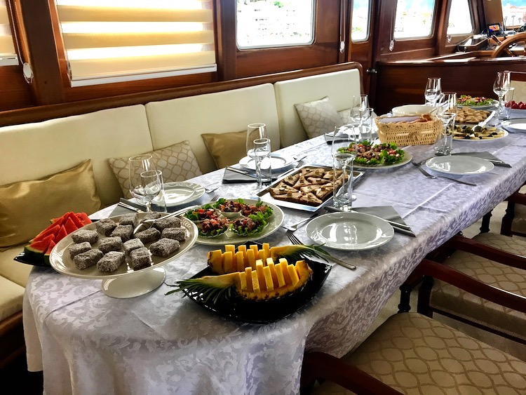 Beautiful dessert buffet aboard motor sailor DOLCE VITA during Croatia famtrip