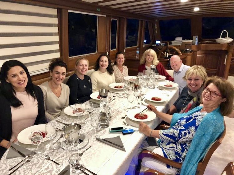 Happy yacht charter brokers getting to know motor sailors SAN LIMI and DOLCE VITA during Croatia famtrip