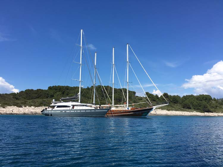 Motor sailors San LiMi and Dolce Vita at anchor in Croatia