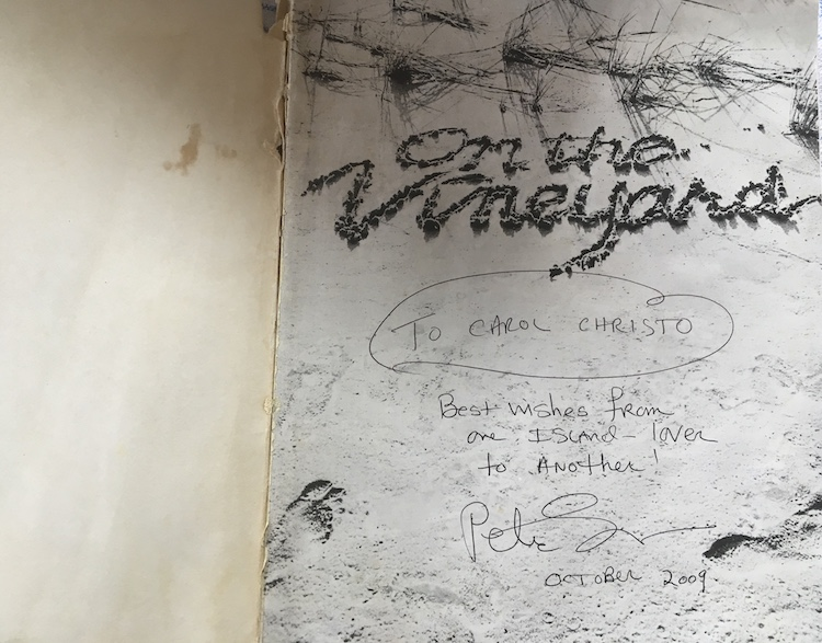 Autograph to Carol and Christo Kent in On The Vineyard book by photographer Peter Simon