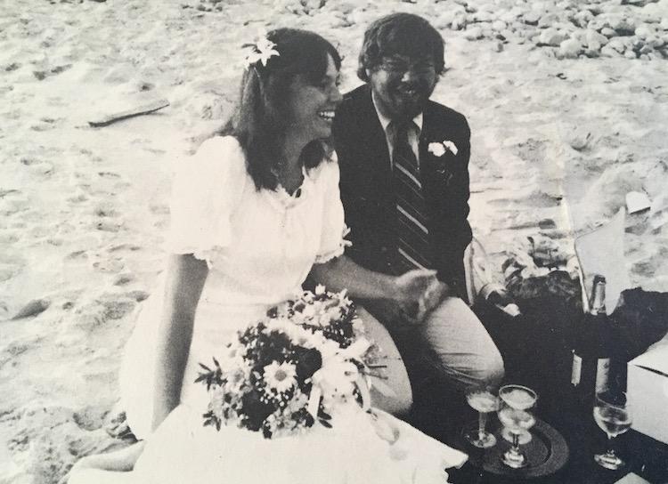 Carol and Chris Kent at their wedding on Zack's Beach, Gay Head (now called Aquinnah), Martha's Vineyard