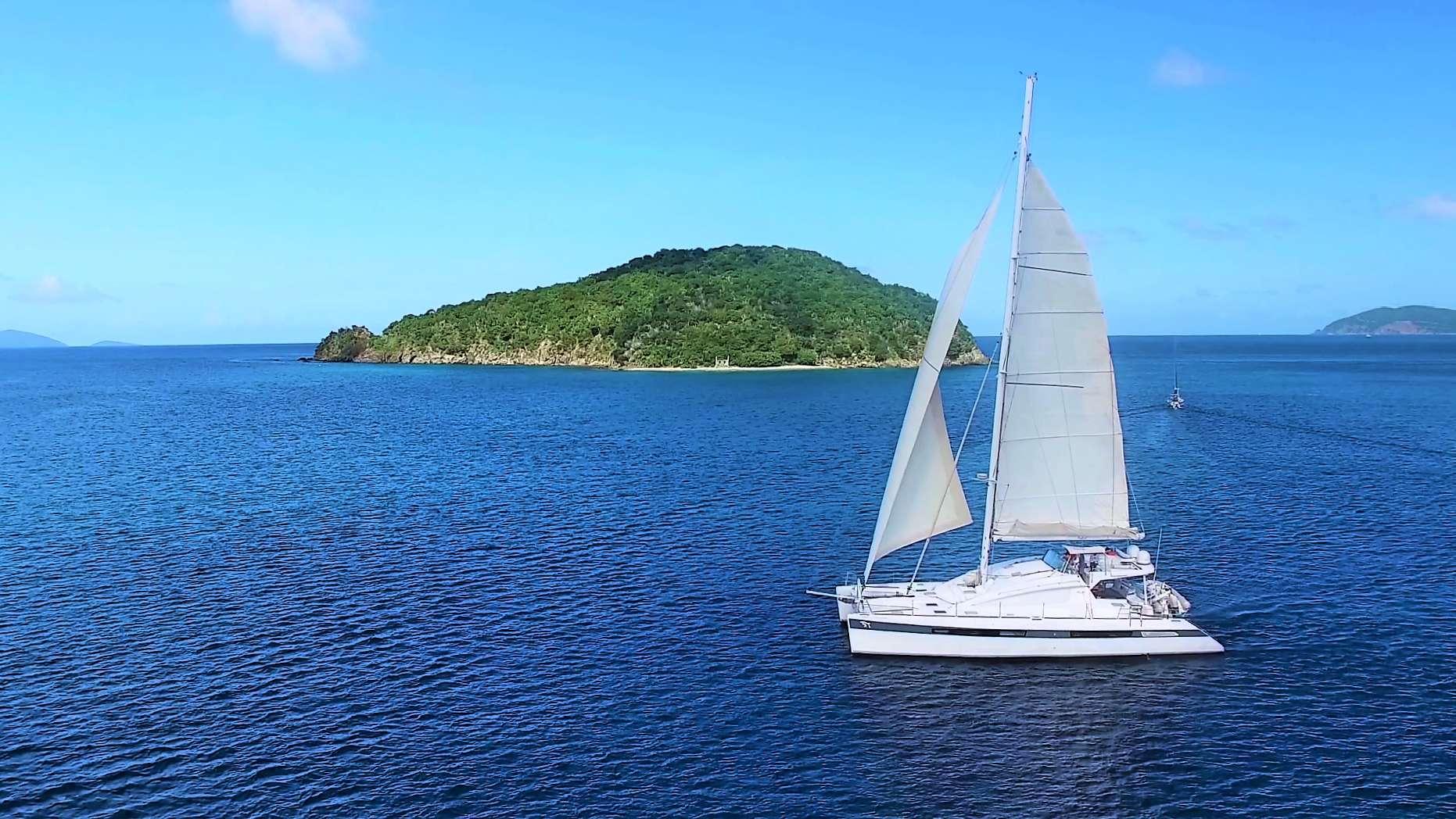 62ft Privilege sailing catamaran LUAR at sail in The Caribbean