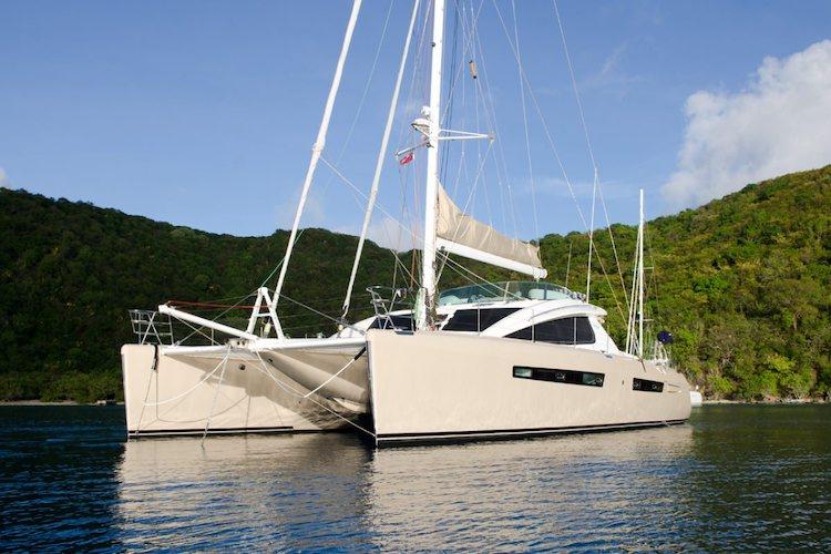 62ft Privilege sailing Catamaran Xenia moored in The Caribbean