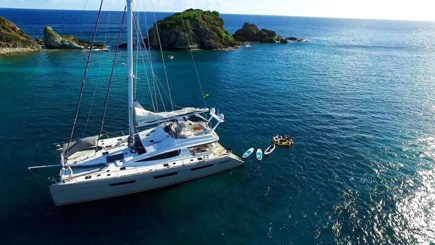 74ft Privilege sailing catamaran XENIA 74 moored in The Craibbean