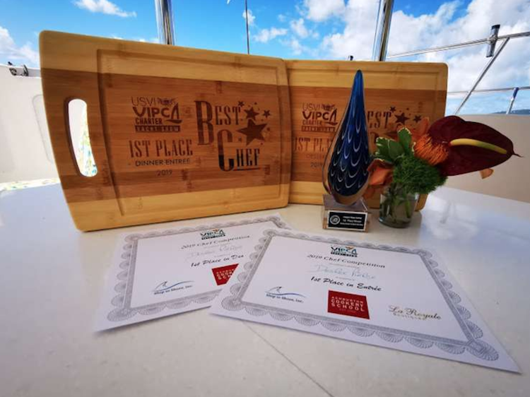 S/Y AMAZING GRACE was awarded 1st Place in both the Entrée and Dessert categories at the 2019 USVI Charter Show Chefs' Competition by VIPCA