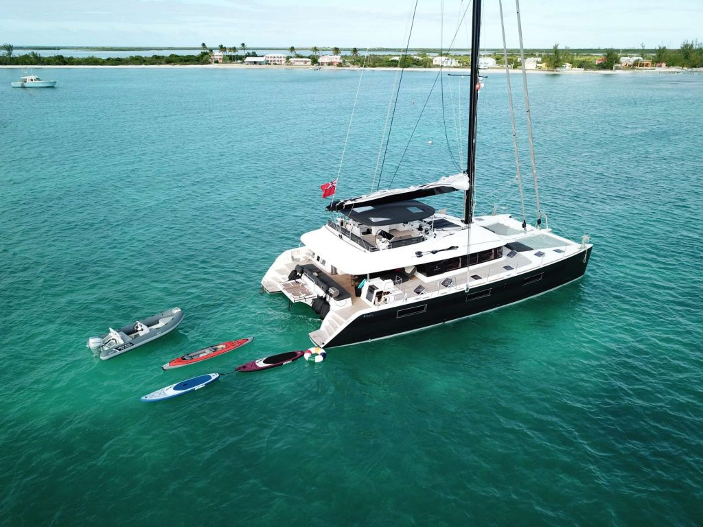 62ft Lagoon sailing catamaran MAHASATTVA with its kayaks and dinghy