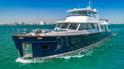 107ft Vicem M-Y MONI at sea; available in Florida and The Bahamas