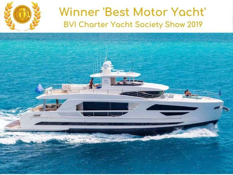 86ft Horizon motor yacht ANGEL EYES won Best Motor Yacht at the 2019 BVI Charter Yacht Society Show