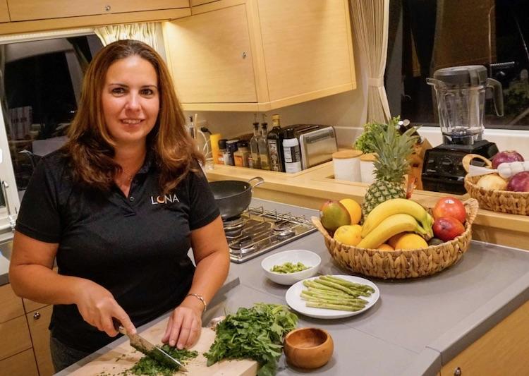 Chef/First Mate Fabiola Hirschorn preparing her award-winning culinary delights on the S/Y LUNA