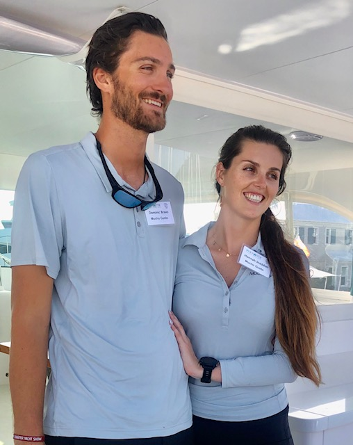 Captain Dominic and Chef/Mate Hannah of 65ft power catamaran MUCHO GUSTO