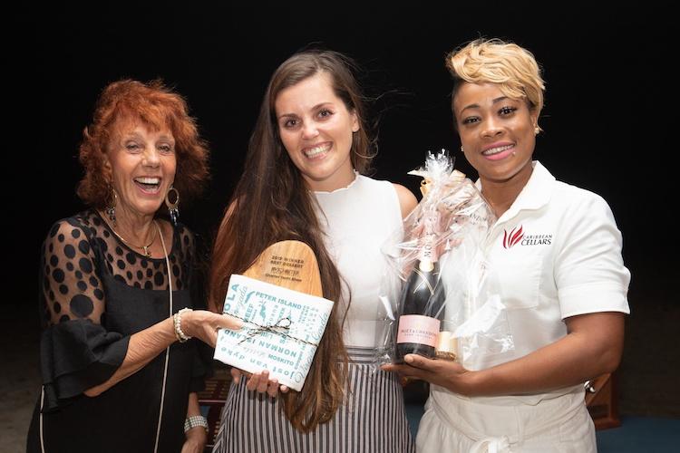 Judge Jan Robinson with 2019 BVICYS Top Yacht Chefs Fabiola Hirschorn and Nia Mora
