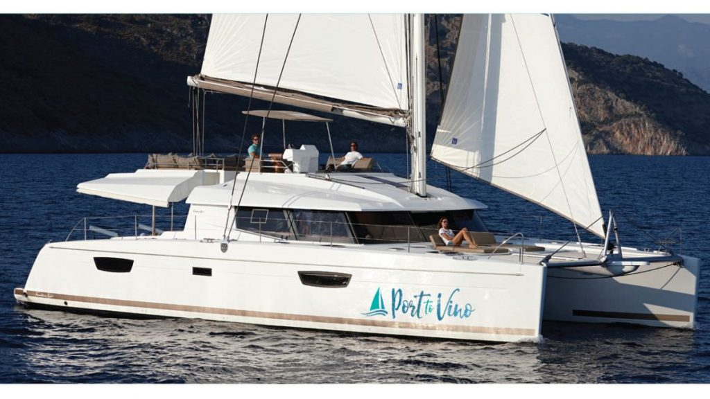 Award-winning 58ft Fountaine Pajot sailing catamaran PORT TO VINO under sail