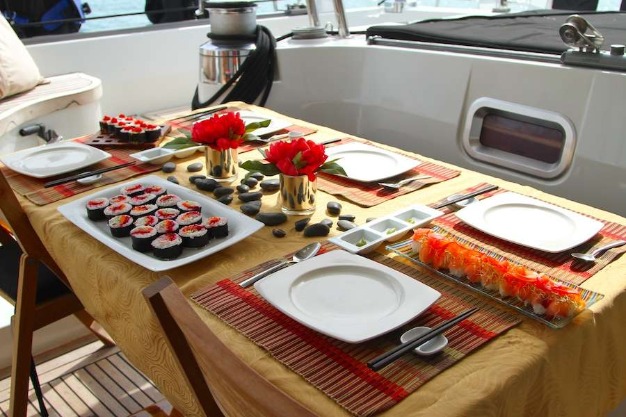 Sushi waiting on dining table for guests on the S-Y LOLALITA