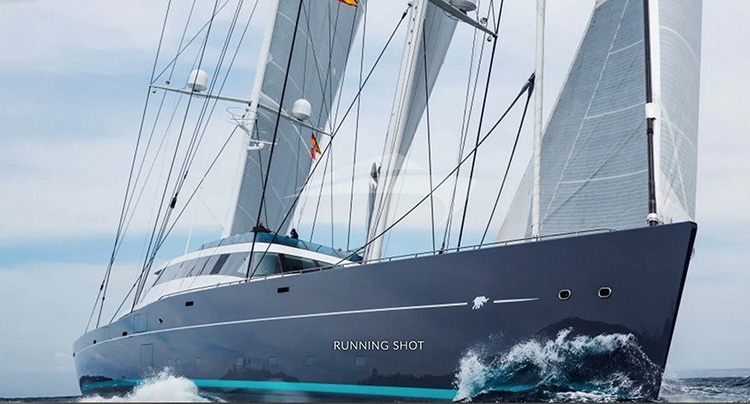 282ft Oceanco motor sailer AQUIJO superyacht underway