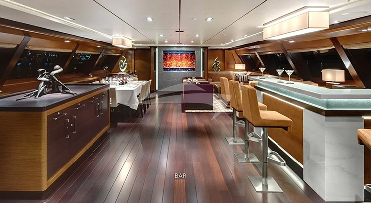Stylish bar aboard 192ft Alloy Yachts sailing yacht KOKOMO