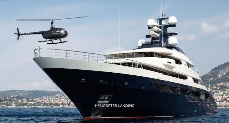 Helicopter landing on 300ft Oceanco motor yacht TRANQUILITY