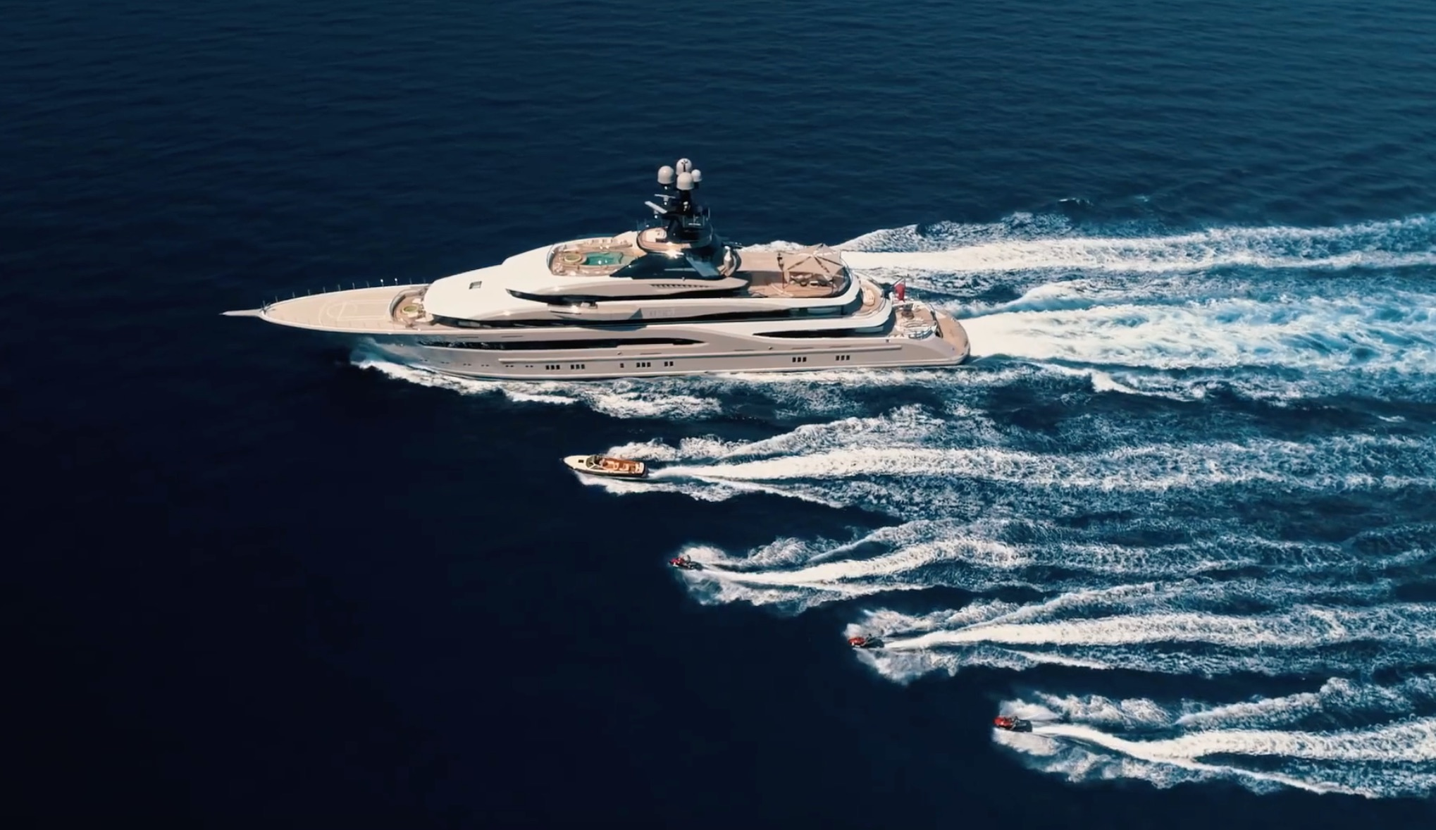 312ft Lurssen superyacht KISMET with its high-tech toys and tenders at sea