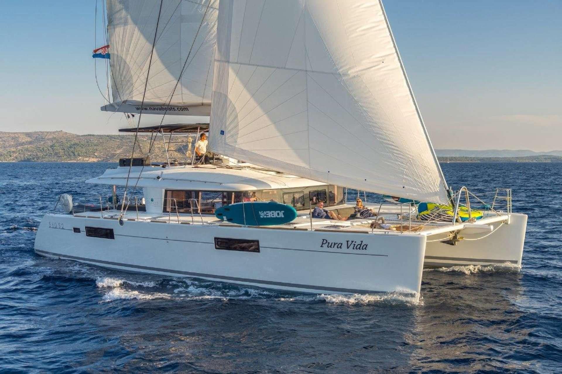 56ft Lagoon sailing catamaran PURA VIDA at sail