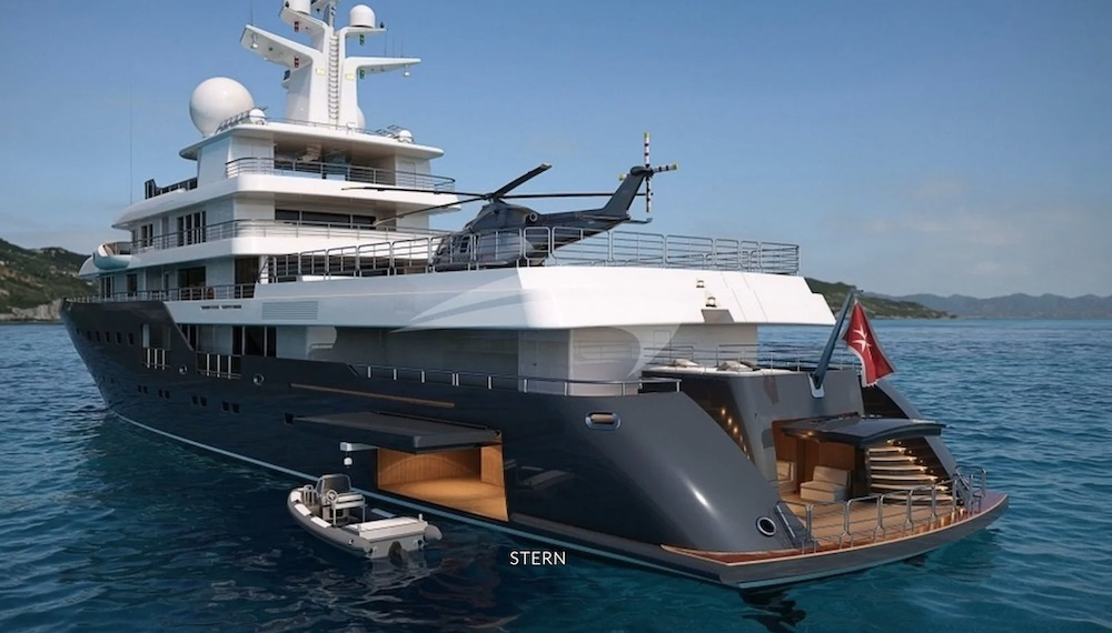 Stern shot of helicopter and tenders on 240ft superyacht PLANET NINE