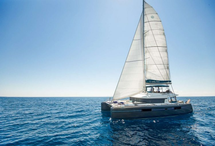 52ft Lagoon sailing catamaran LUCKY CLOVER at sea