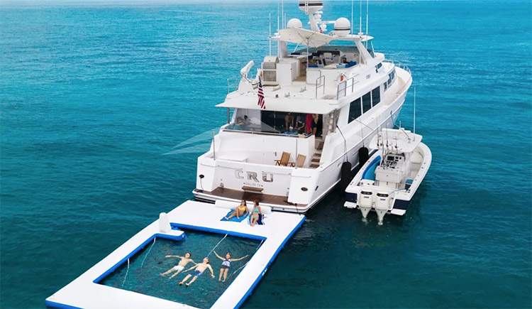 96ft Westship CRU with it's traveling pool operates in the Bahamas, Caribbean and North America