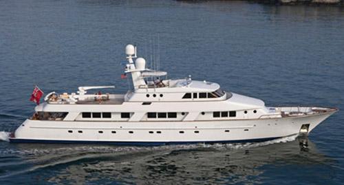 145ft NQEA Yachts motor yacht RENA at see operates in the Bahamas