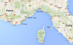 French Riviera Luxury Yacht Charter Map
