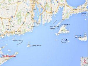 Sag Harbor Hamptons to Nantucket luxury yacht charter map
